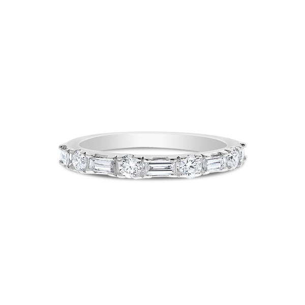 Baguette and Round Diamond Band, 14K White Gold