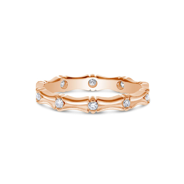 Sculpted Flush Set Diamond Band, 14K Rose Gold