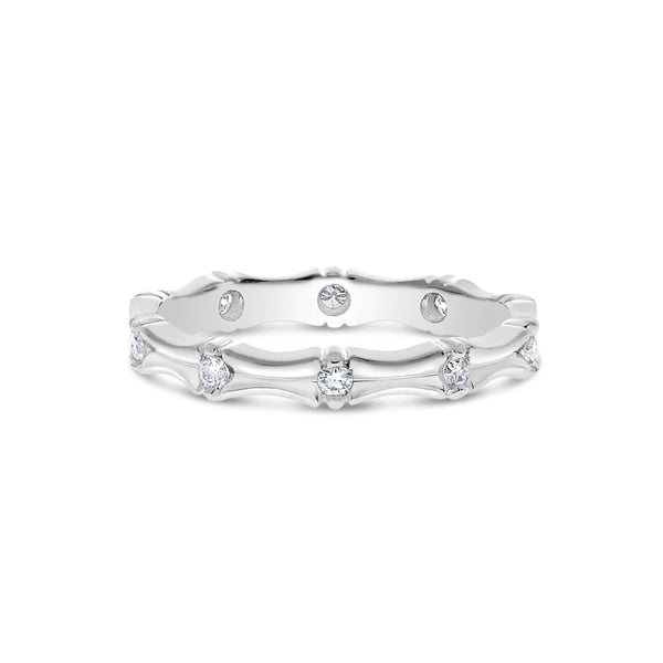 Sculpted Flush Set Diamond Band, 14K White Gold