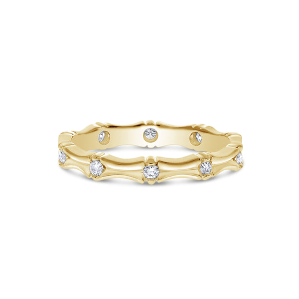 Sculpted Flush Set Diamond Band, 14K Yellow Gold