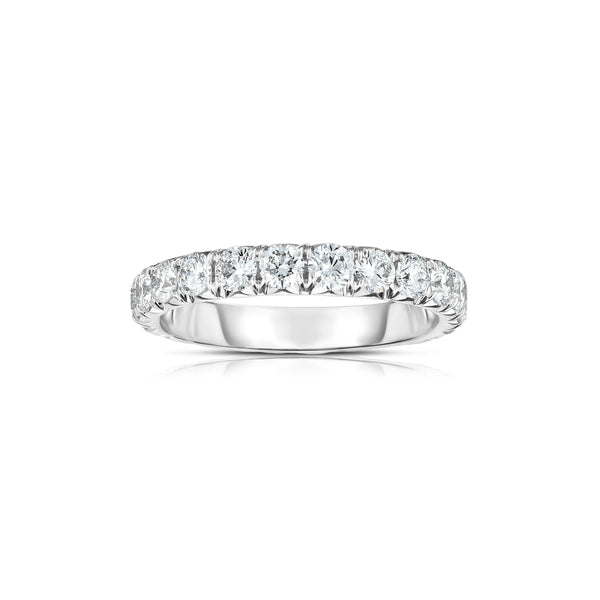 French Pavé Cut Down Diamond Eternity Band, 14K White Gold