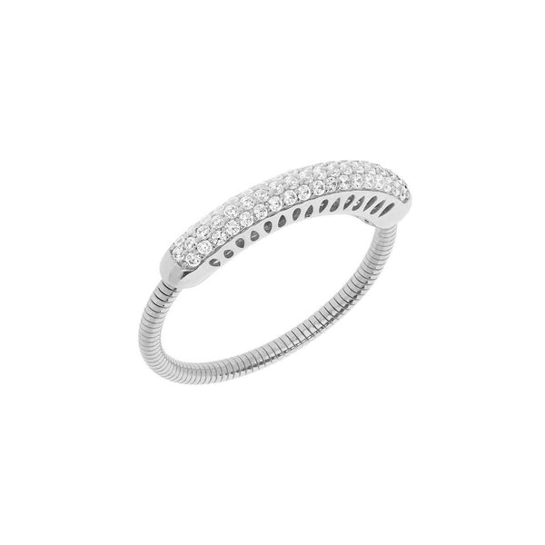 Pavé Diamond Expandable Ring, 14K White Gold