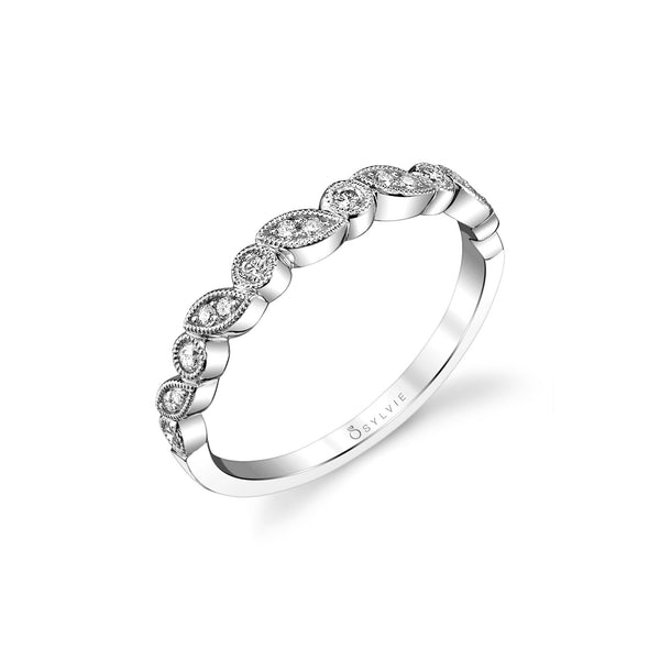 Multishape Bezel Set Diamond Band by Sylvie, 14K White Gold