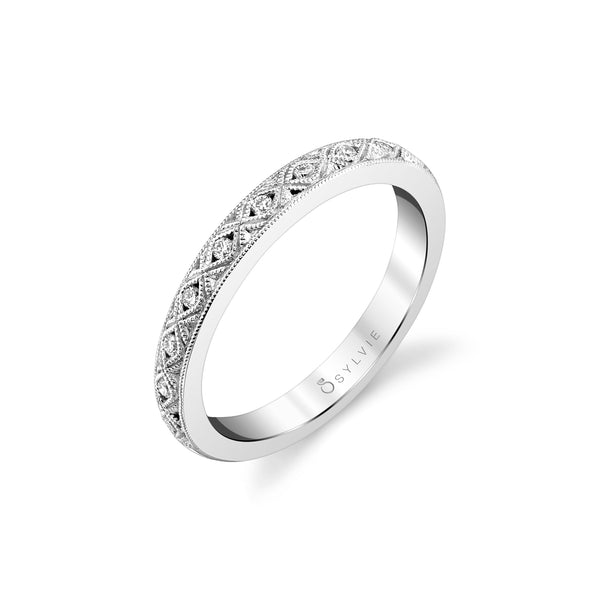 Milgrain Design Diamond Eternity Band by Sylvie, 14K White Gold