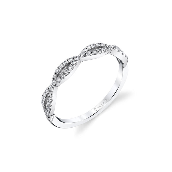 Criss Crossing Diamond Band by Sylvie, 14K White Gold