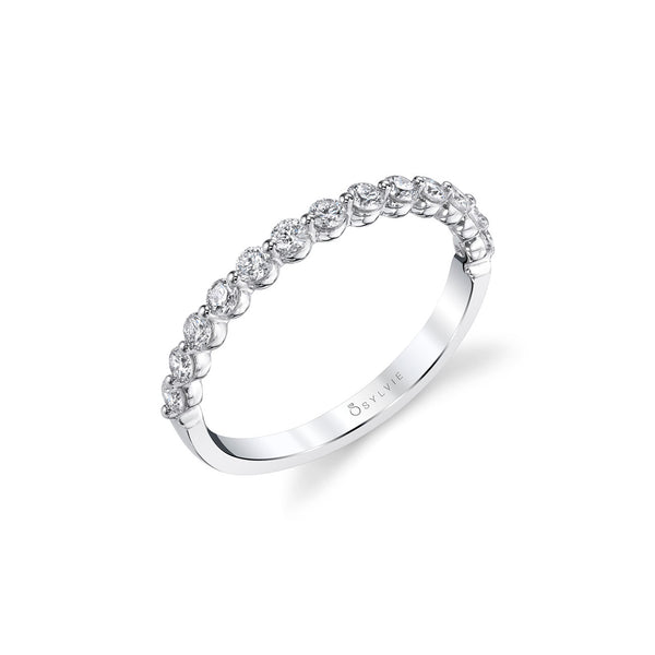 Mutual Prong Halfway Diamond Band by Sylvie, 14K White Gold