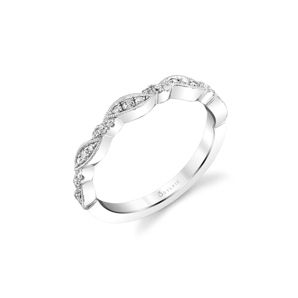 Multi Shape Bezel Set Diamond Band by Sylvie, 14K White Gold
