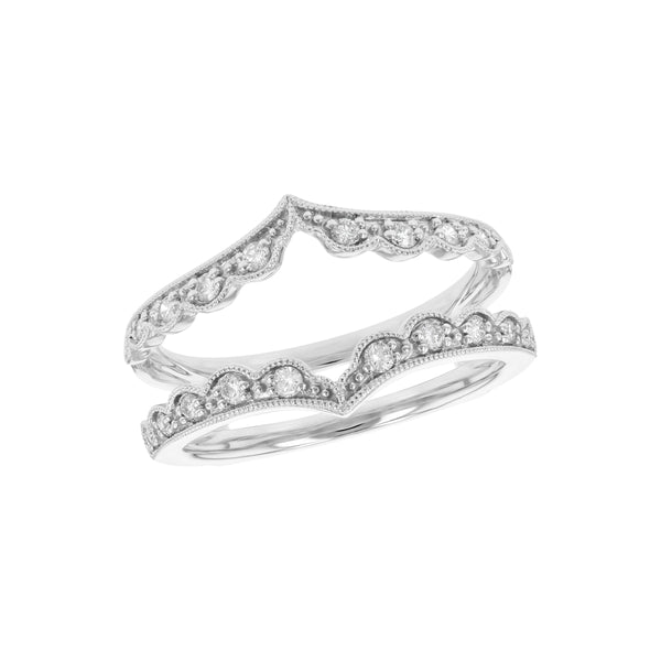 Open Design Milgrain Detail Diamond Ring, 14K White Gold