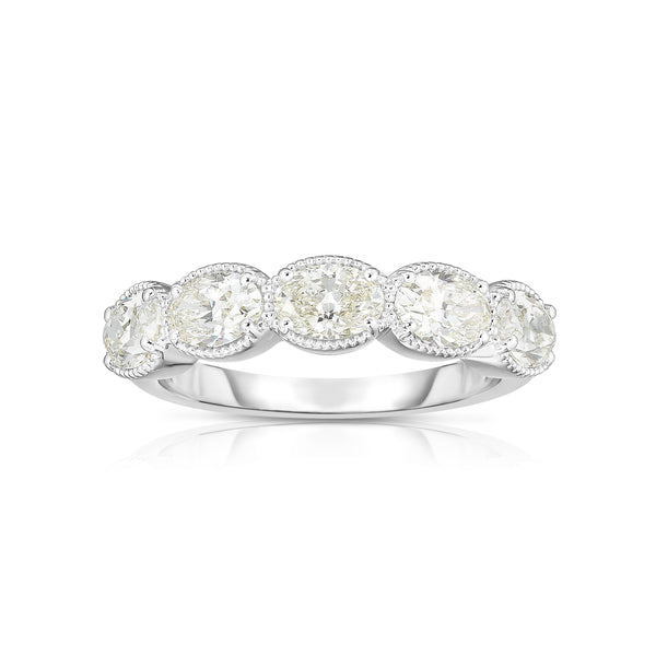 Five Stone Oval Diamond Band, 14K White Gold