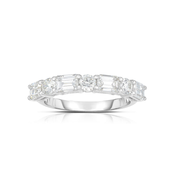 Alternating Baguette and Round Diamond Band, 14K White Gold