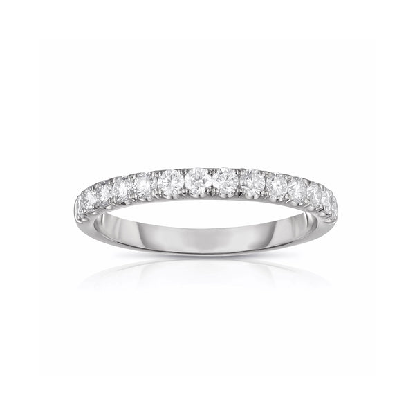Shared Prong Halfway Diamond Band, .48 Carat, 14K White Gold