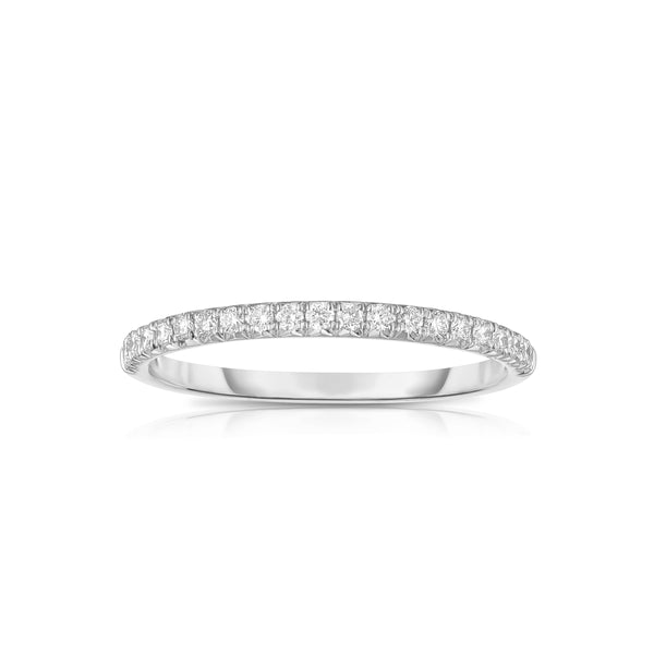 Shared Prong Halfway Diamond Band, .21 Carat, 14K White Gold