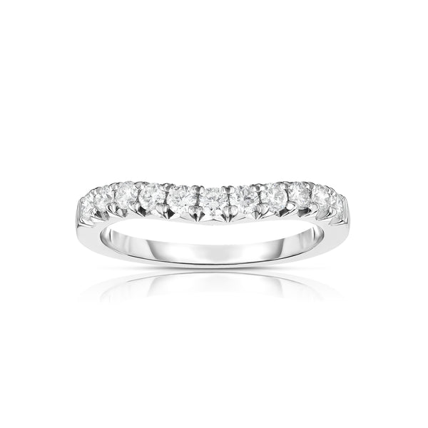 Curved Halfway Diamond Band, .48 Carat, 14K White Gold