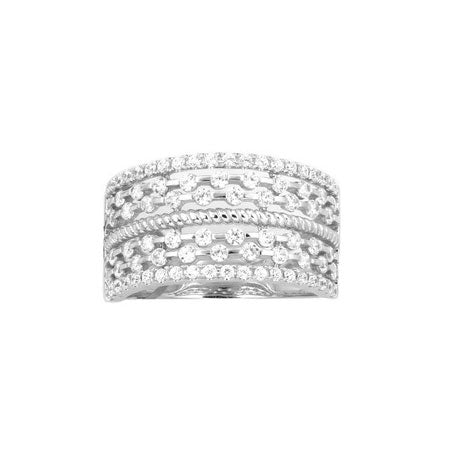 Wide Open Design Diamond Band, 14K White Gold