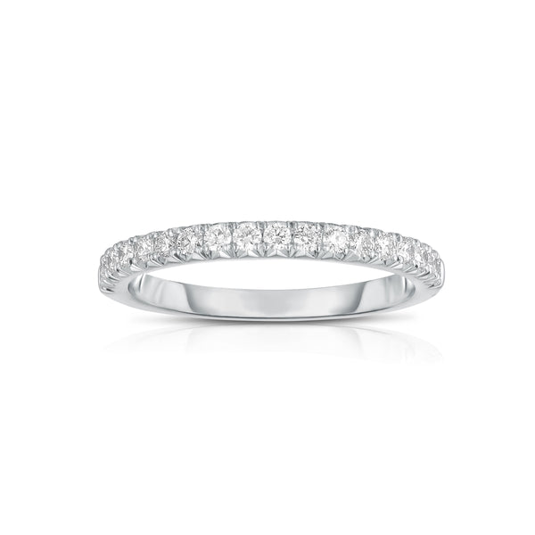 Shared Prong Halfway Diamond Band, .32 Carat, 14K White Gold