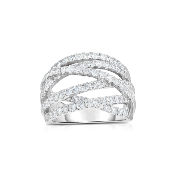 Criss Cross Bands Diamond Ring, 14K White Gold