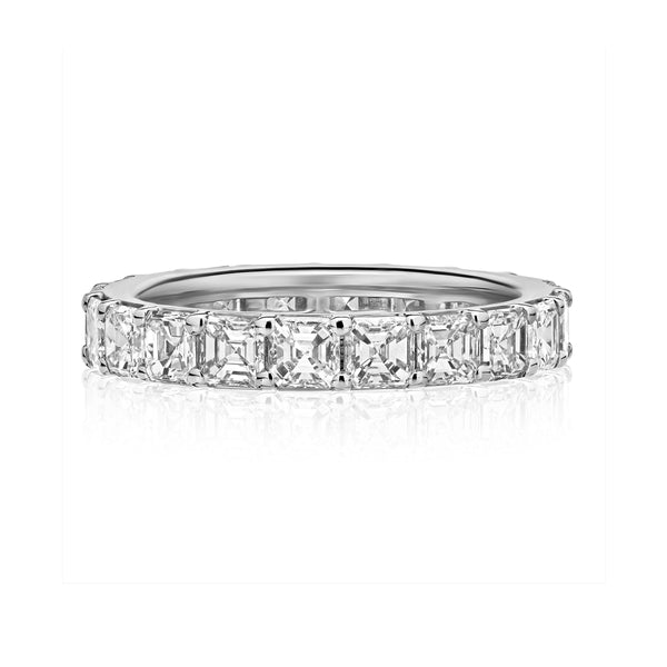 Ascher Cut Diamond Eternity Band, 4 Carats, Platinum