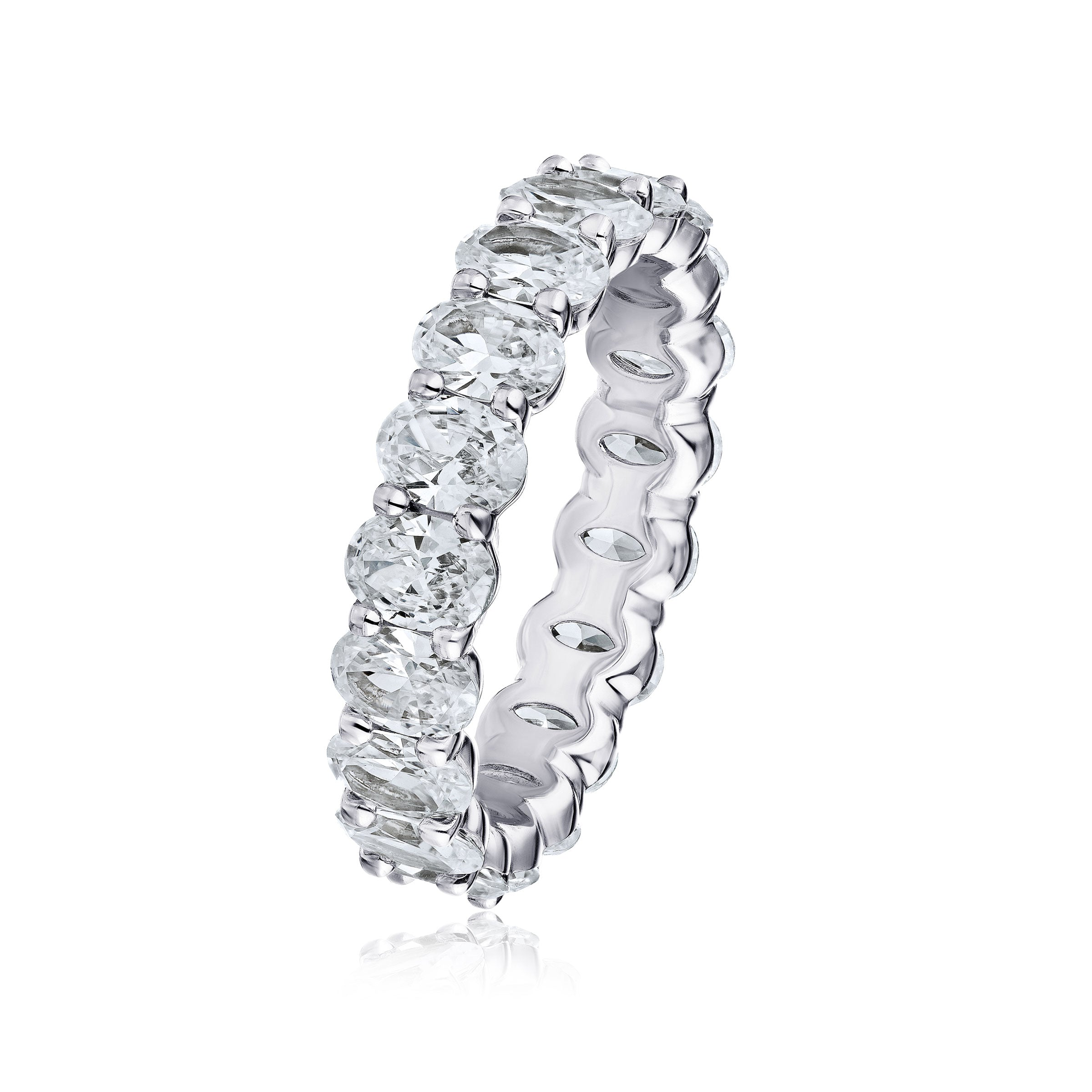 Oval Shape Diamond Eternity Band, 4.25 Carats, Platinum