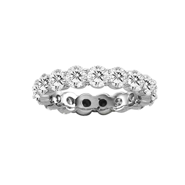 Shared Prong Diamond Eternity Band, 4 Carats Total, 14K White Gold