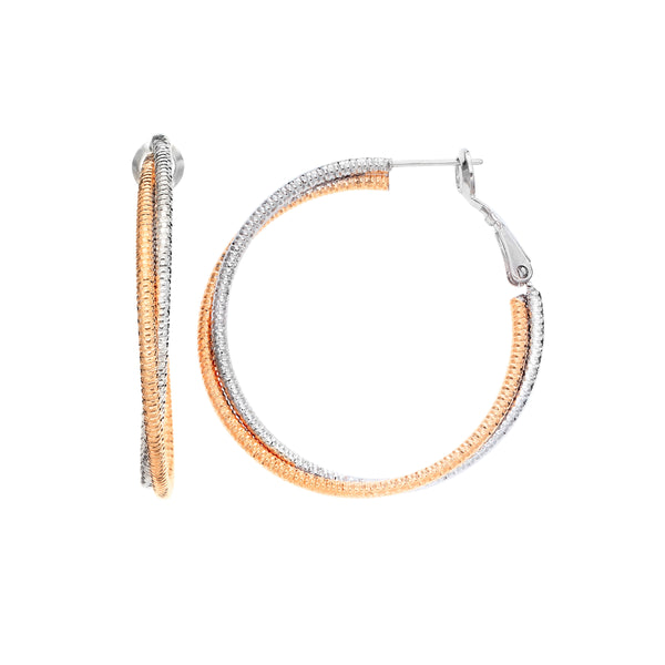 Two Tone Twisted Hoop Earrings, 1.20 Inches, Rose Gold Plated
