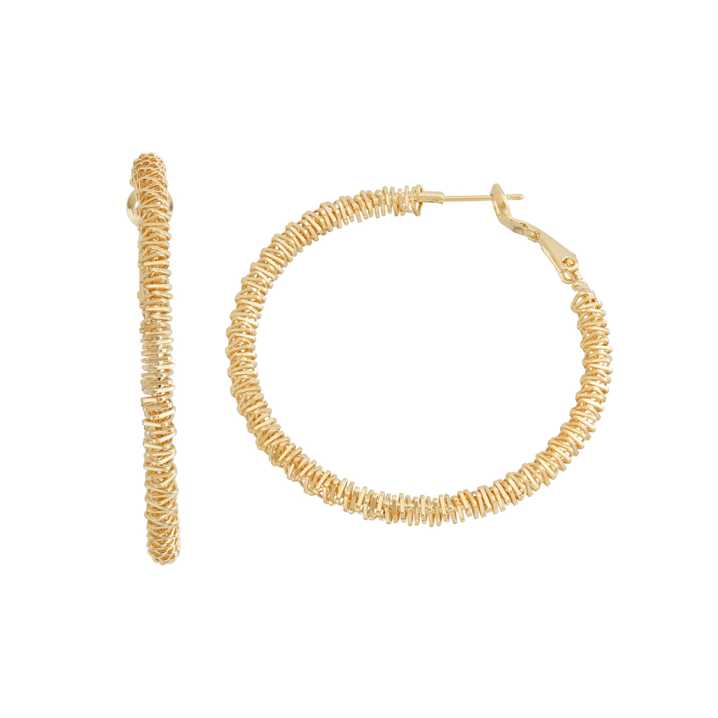 Textured Hoop Earrings, 1.95 Inches, Yellow Gold Plated