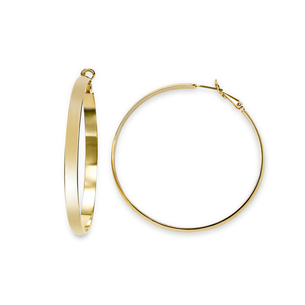 Large Flat Hoop Earrings, 2.25 Inches, Yellow Gold Plated