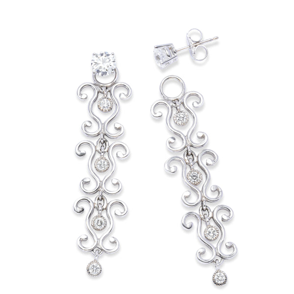 Estate Scroll Design Diamond Jackets Dangle Earrings, Platinum