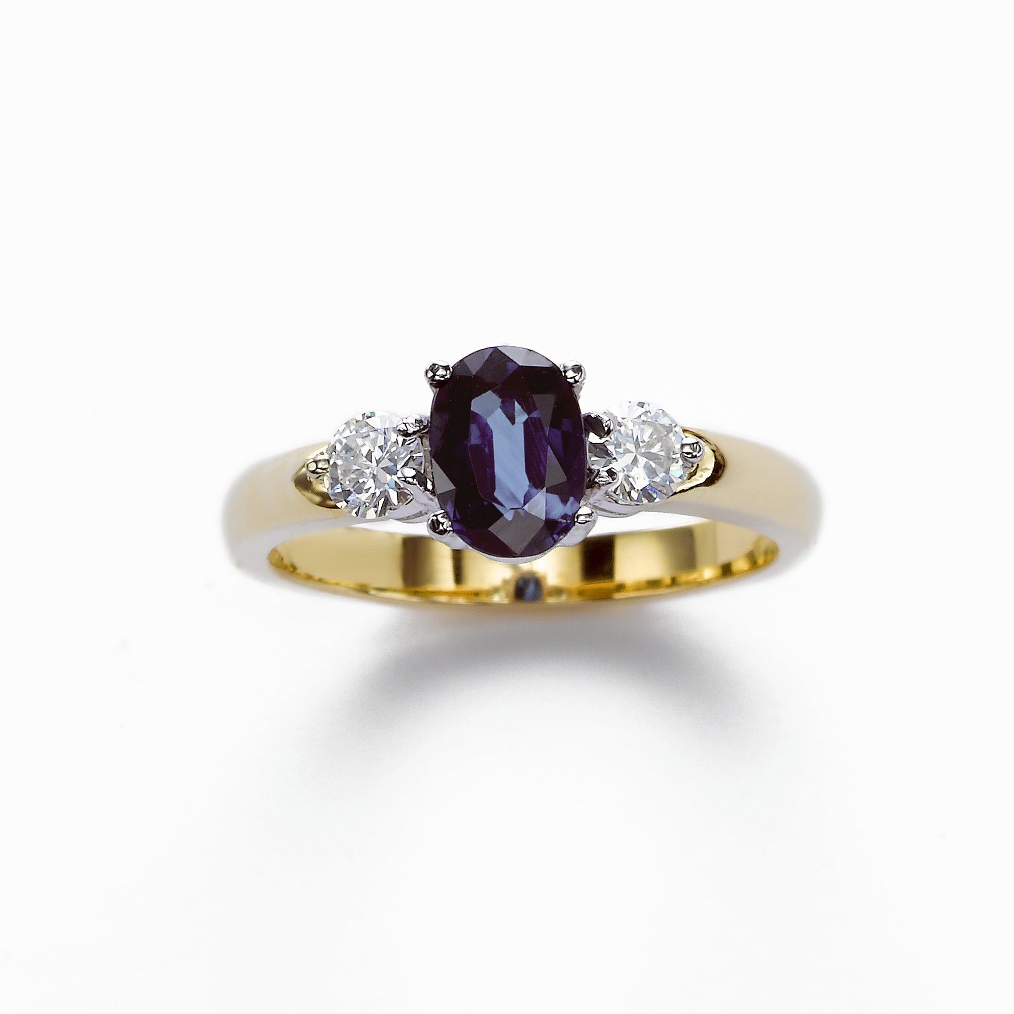 Three Stone Blue Sapphire and Diamond Ring, 14 Karat Gold