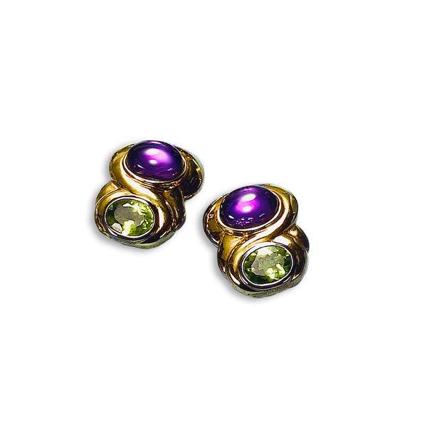 Amethyst and Peridot Non-Pierced Earrings, 14K Yellow Gold Vermeil