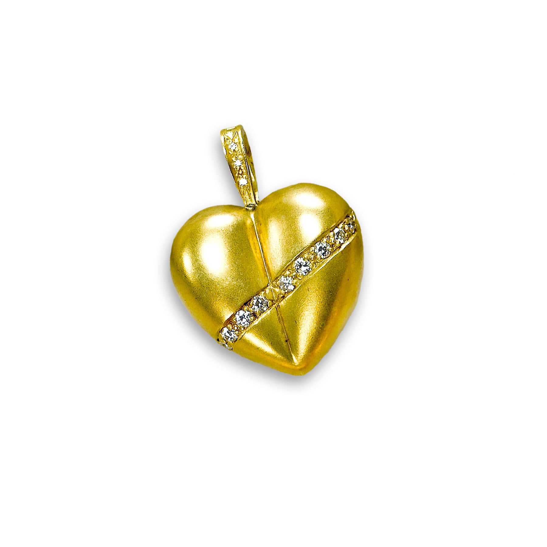 Heart Clipover Pendant with Diamonds, 18K Yellow Gold