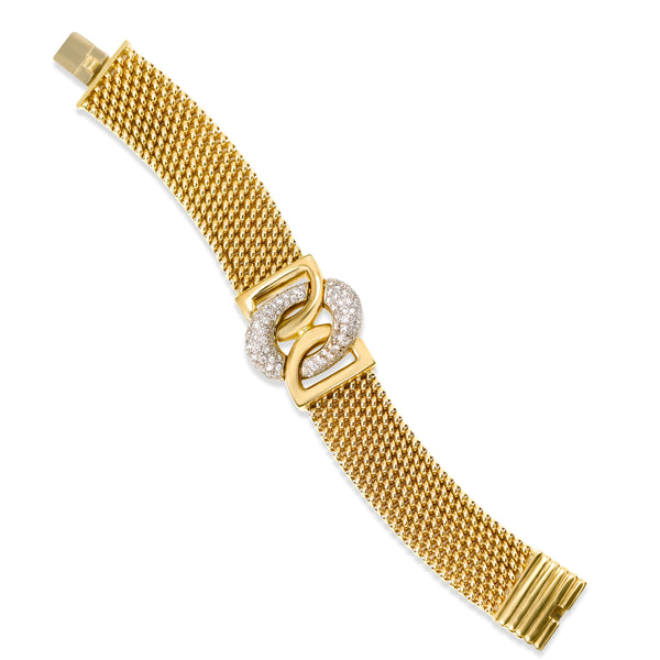 Woven Bracelet with Diamond Center, 18K Yellow Gold