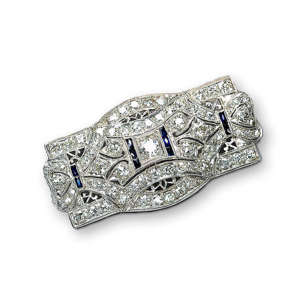 Deco Style Diamond Brooch, Platinum