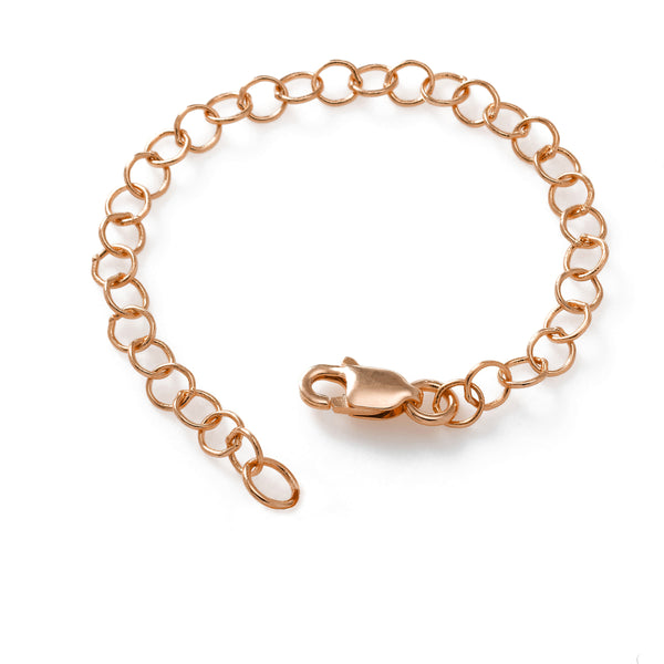 Chain Extender, 3 Inches Adjustable, Sterling Silver with Rose Gold Plating