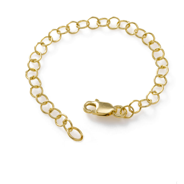 Chain Extender, 3 Inches Adjustable, Sterling Silver with Yellow Gold Plating