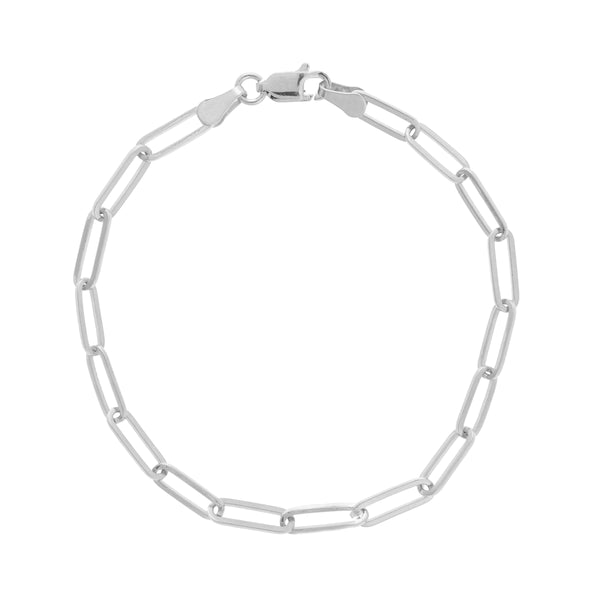 Elongated Link Chain Flexible Bracelet, 14K White Gold