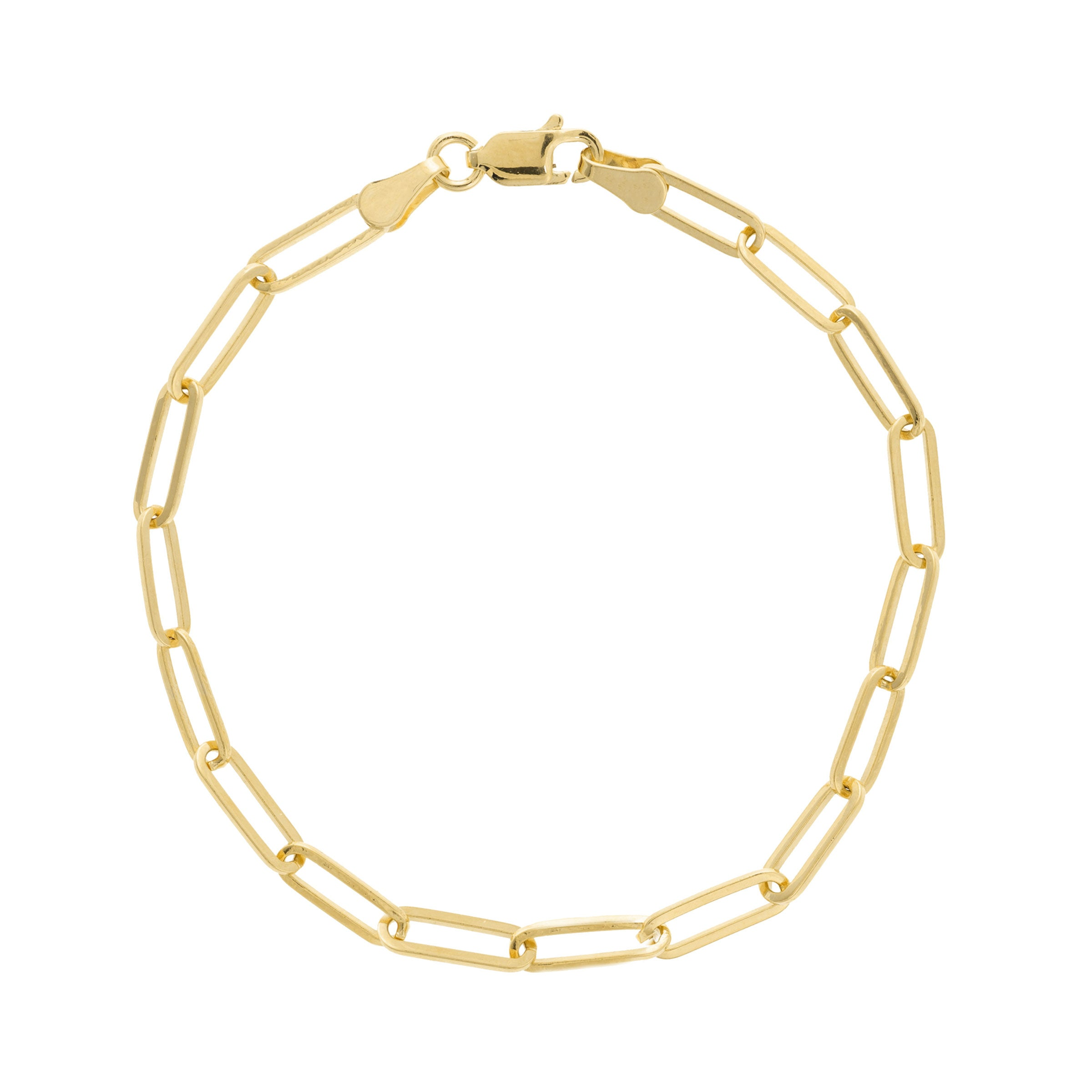 Elongated Link Chain Flexible Bracelet, 14K Yellow Gold