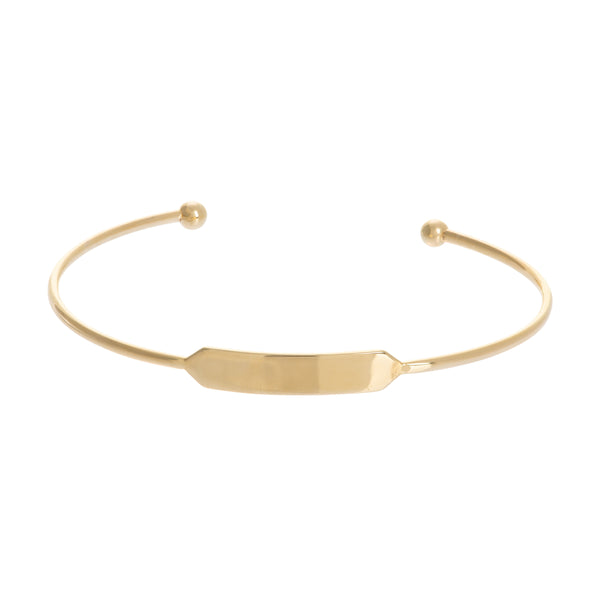 Engravable ID Tag Cuff Bracelet, 14K Yellow Gold