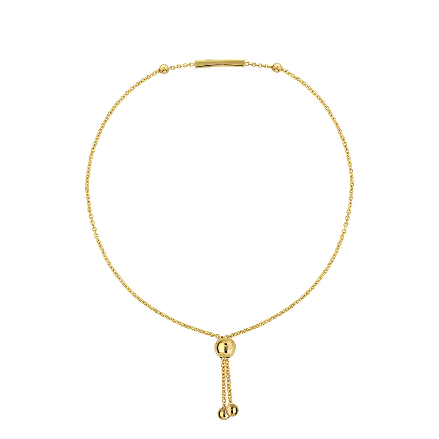 Polished Bar Bolo Bracelet, 14K Yellow Gold