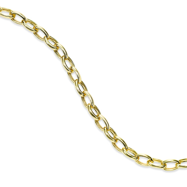 Shiny Oval Link Bracelet, 14K Yellow Gold