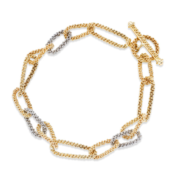 Two Tone Rope Design Link Bracelet, 14 Karat Gold