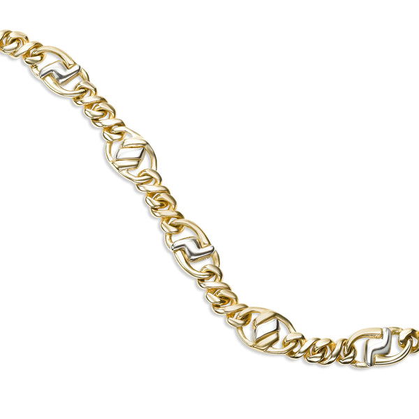 Two Tone Cable Link Bracelet, 14 Karat Gold
