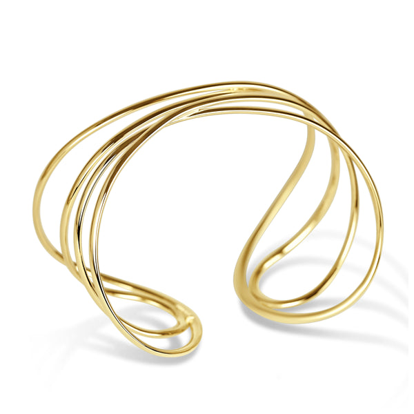 Four Wire Crossing Cuff Bracelet, 14K Yellow Gold