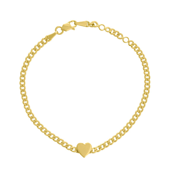 Heart Charm Bracelet, 14K Yellow Gold