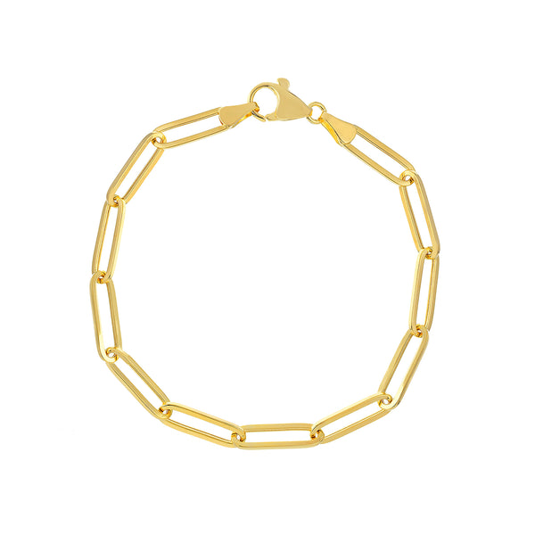 Hollow Paper Clip Chain Bracelet, 14K Yellow Gold