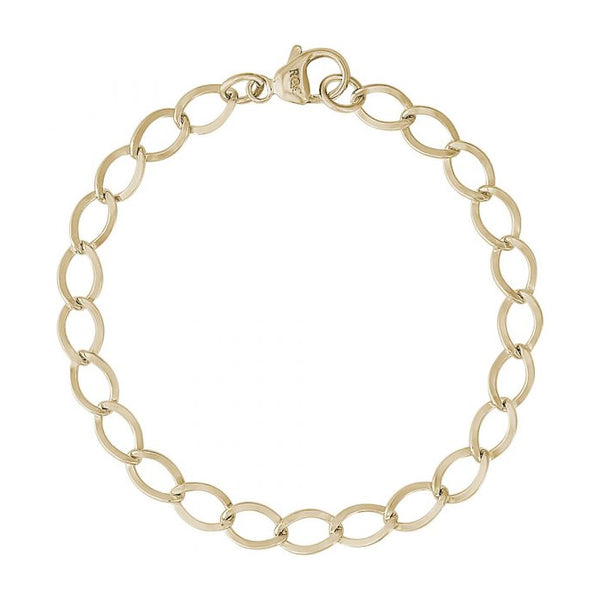 Oval Link Charm Bracelet, 14K Yellow Gold