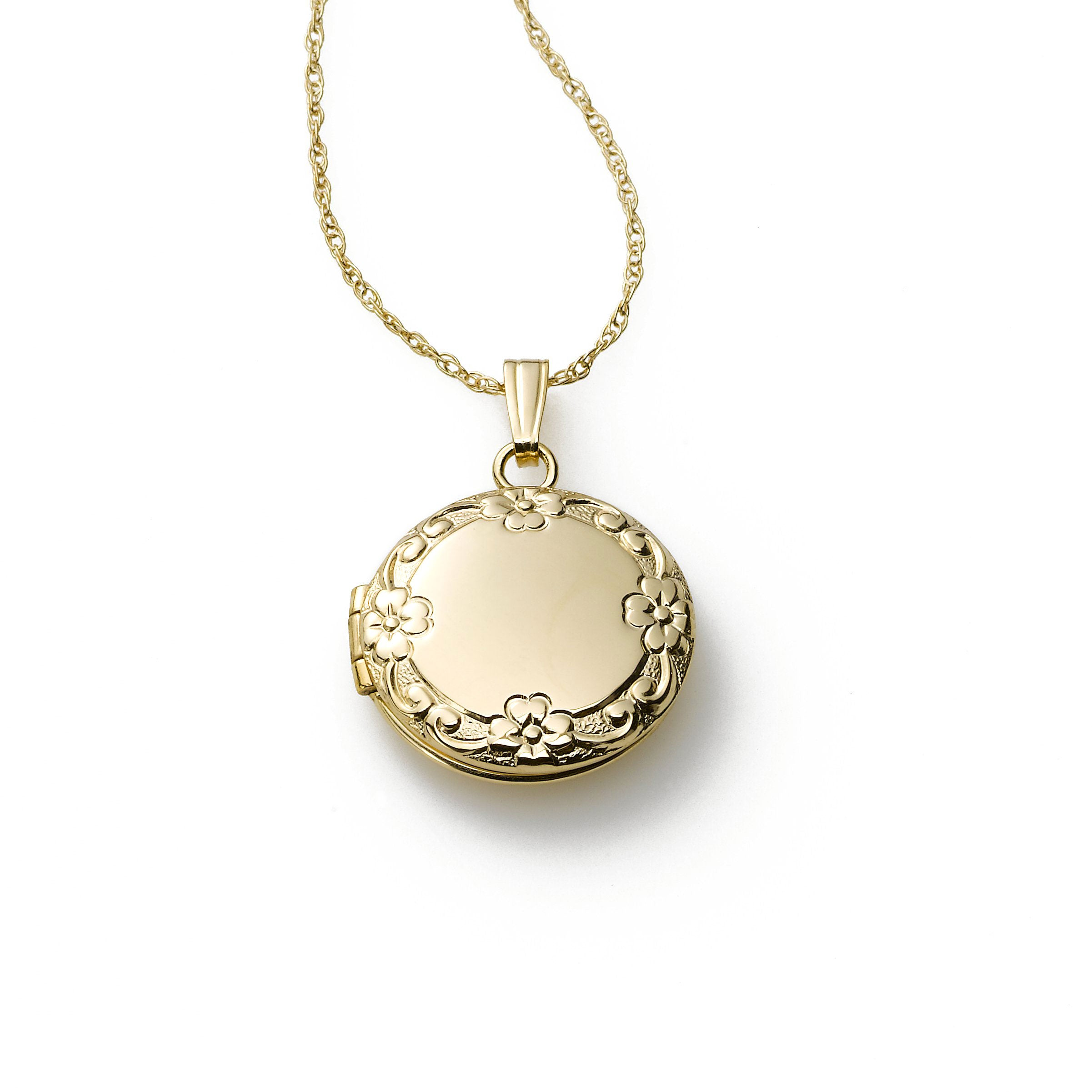 Child's Embossed Round Locket, 14K