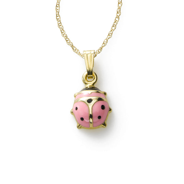 Child's Pink Ladybug Pendant, 14K Yellow Gold