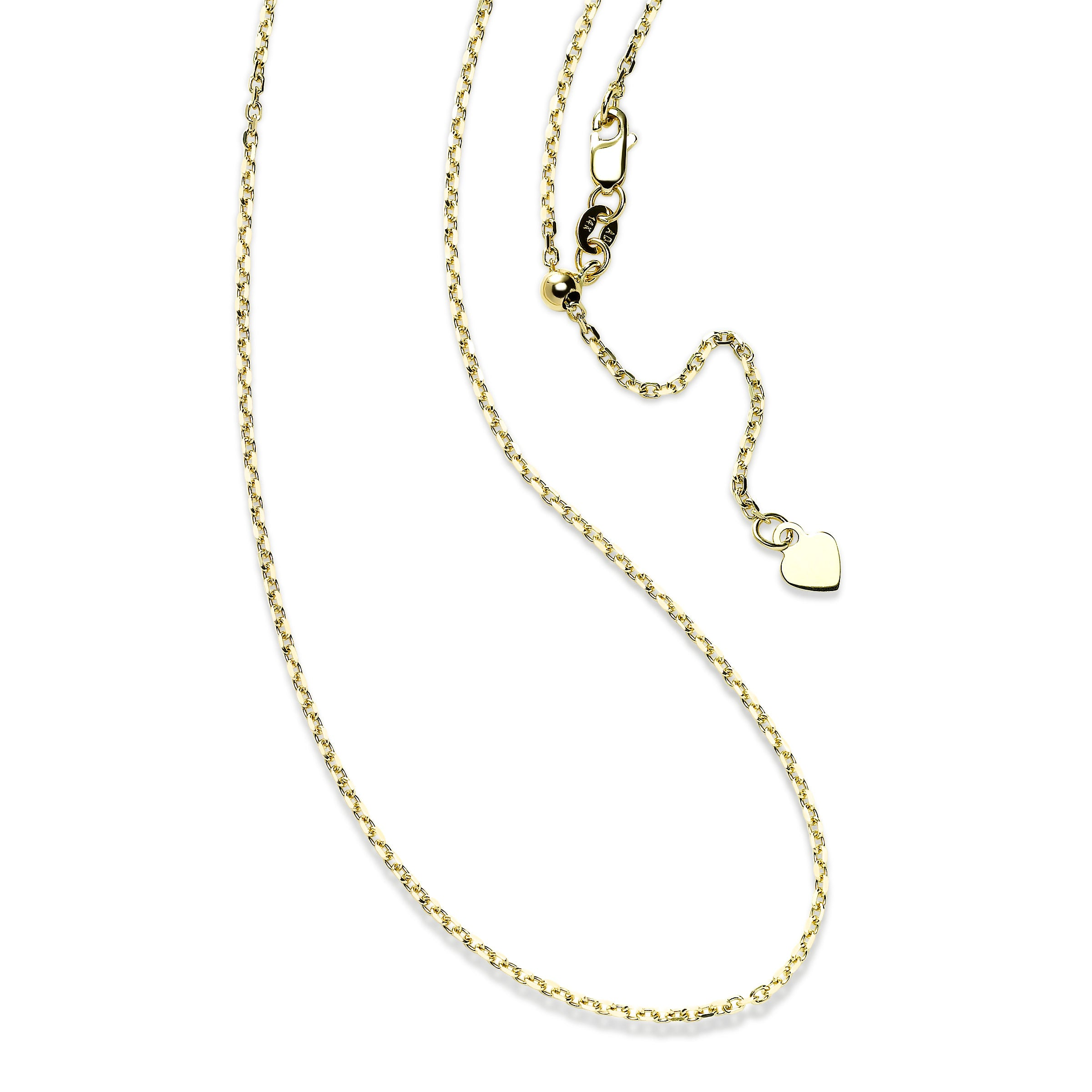 Adjustable Cable Chain with Heart Dangle, 24 Inches, 14K Yellow Gold