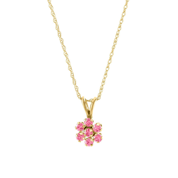 Child's Pink CZ Flower Pendant, 14K Yellow Gold