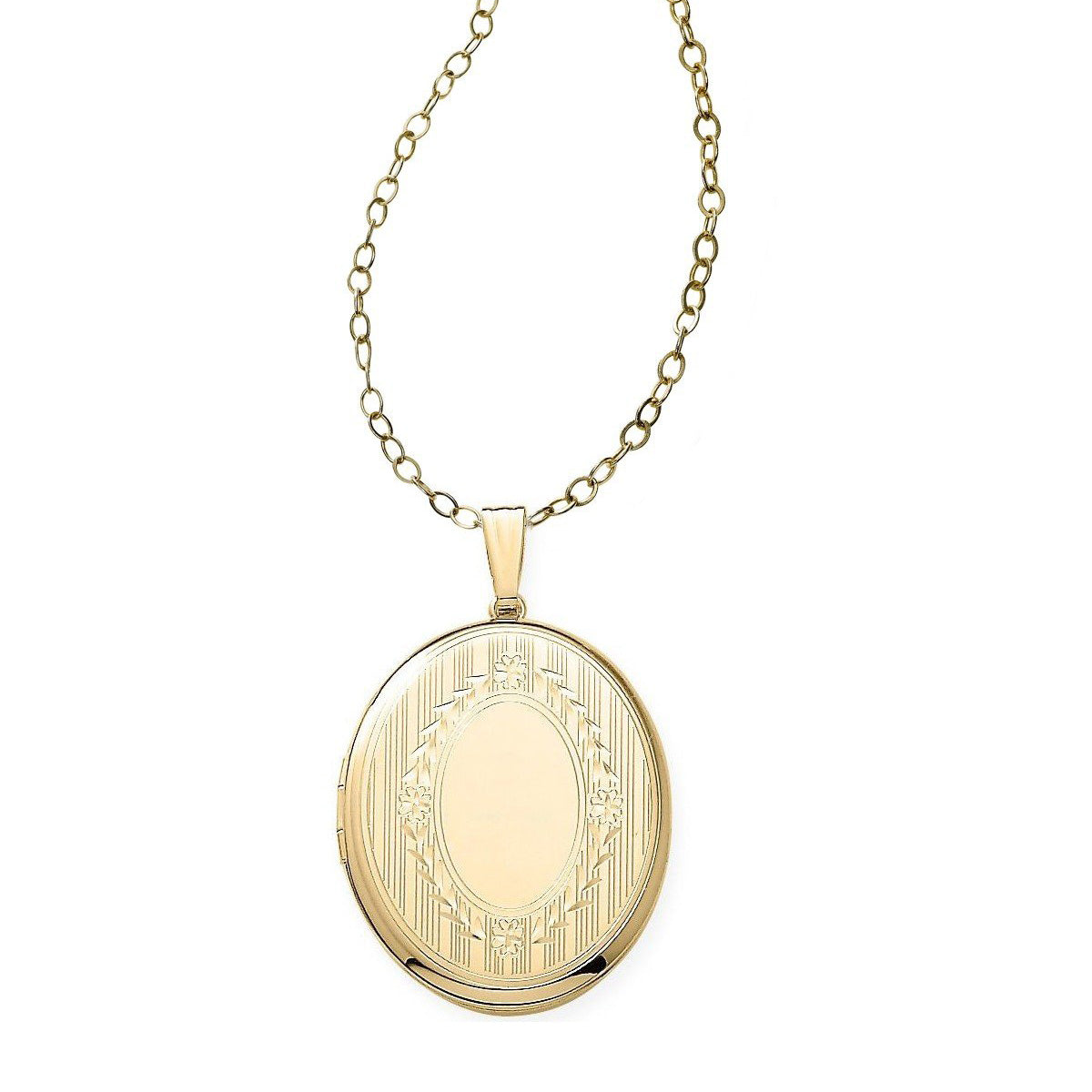 Engravable Oval Locket, 14K Yellow Gold
